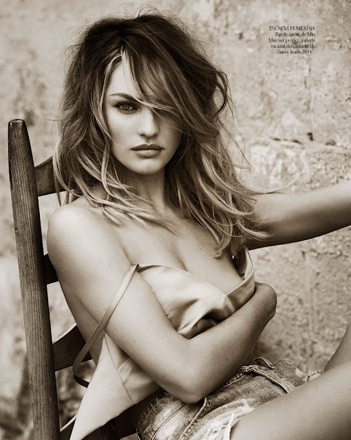 Candice Swanepoel in black and white