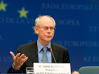a photo of Herman Van Rompuy President of the European Council at a podium, photo courtesy of the European Union Council or European Council -Council of the European Union