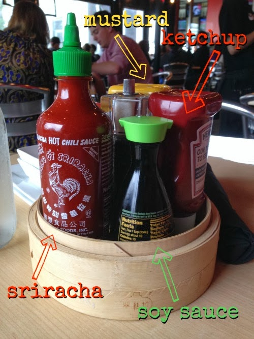 cowfish condiments: mustard, ketchup, sriracha, and soy sauce