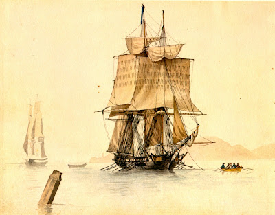 Naval Architecture on Towing A Privateer By A Roux C 1806 Via Naval Architecture Jpg