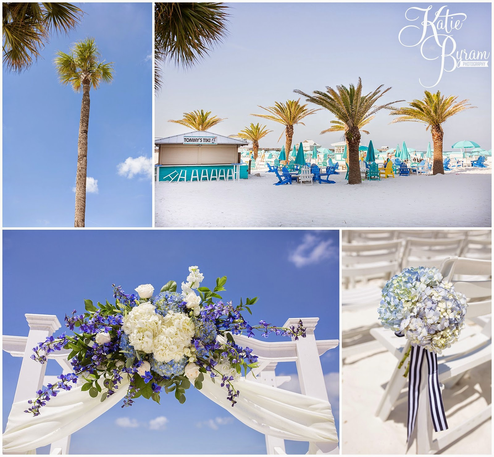 palm trees wedding, flower arch, destination wedding, clearwater beach wedding, hilton clearwater beach wedding, katie byram photography, florida wedding