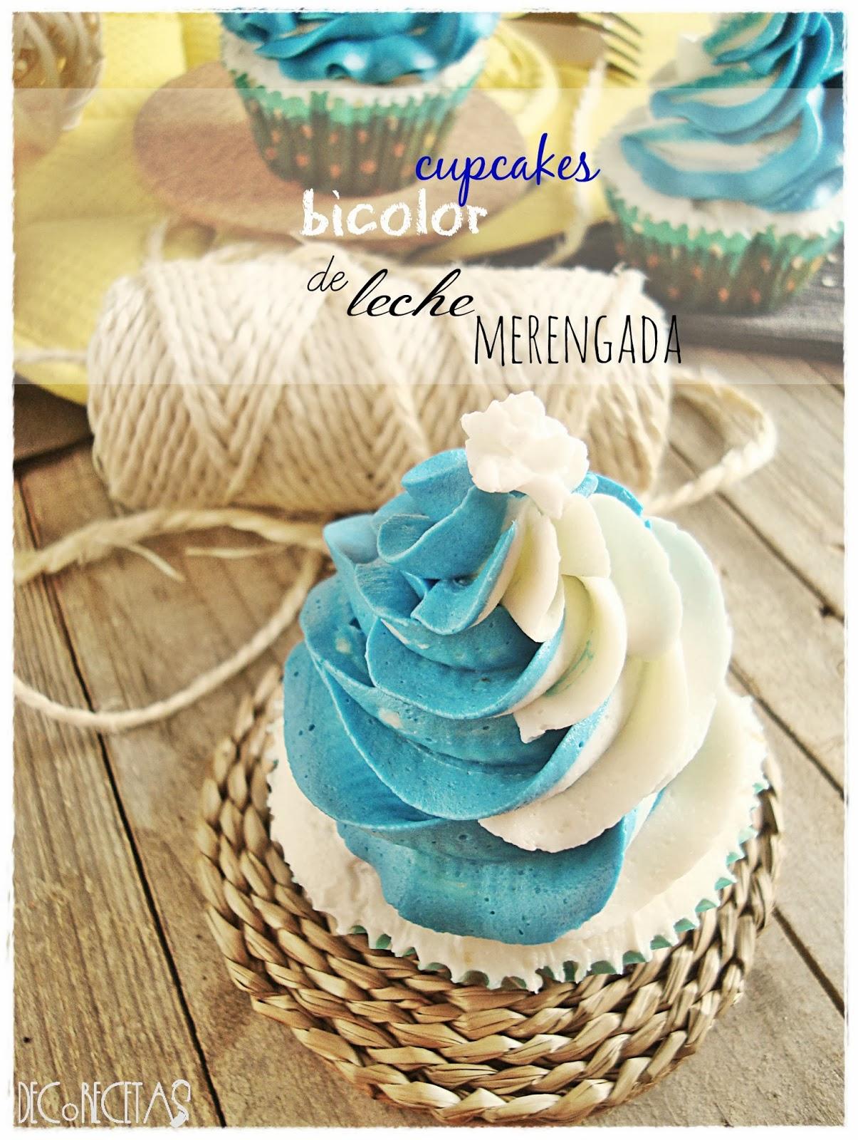 Cupcakes bicolor de leche merengada