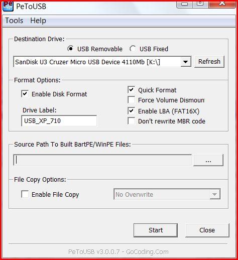 USB Boot Install Windows XP Asus Eee PC