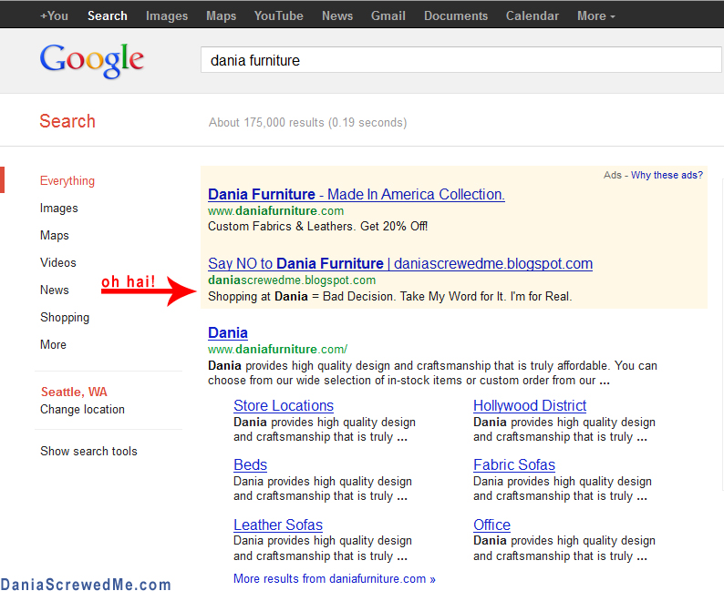 Dania Furniture U0026 Dania Screwedme Advertising On Google Adwords