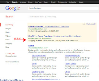 dania furniture & dania screwedme advertising on google adwords