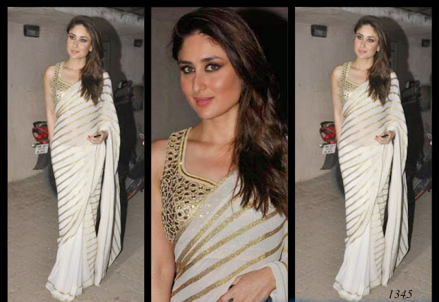1345-kareena kapoor elegant in white chiffon georgette saree designed by Amrita Thakur at Mehboob Studios
