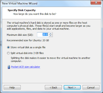 Allocating the Disk Space for the Virtual Machine