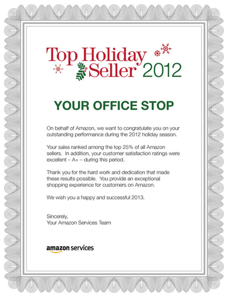 Amazon Top Holiday Seller 2012 Award