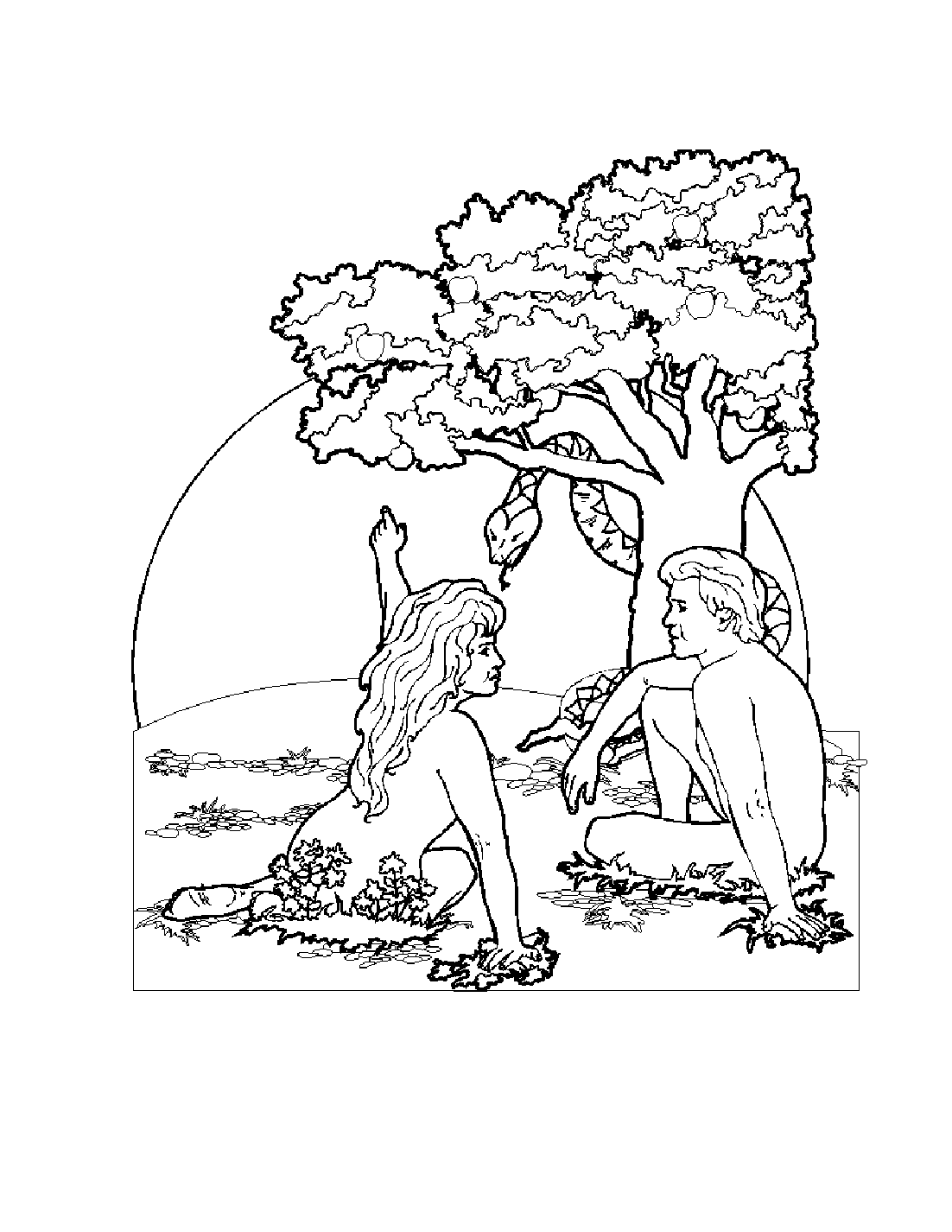 Free coloring pages of jardin del eden for Adan y eva en el jardin del eden