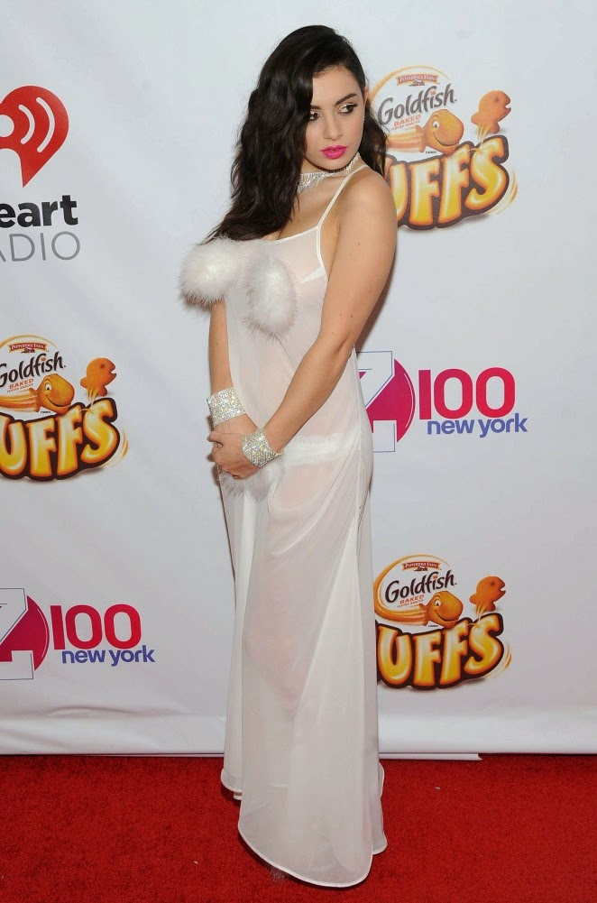 Charli XCX in a sheer dress at the 2014 Z100s Jingle Ball in New York City