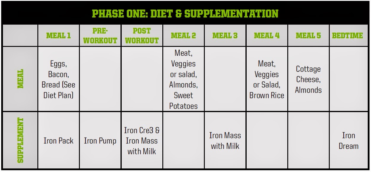 Arnold schwarzenegger blueprint healthy guide to mass phase one overview use this as a quick reference to the arnold schwarzenegger blueprint guide to mass cross the workout off as malvernweather Image collections