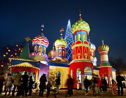 a large area in the amusement park tivoli in copenhagen is laid out for a russian christmas with a version of the vasilij cathedral and striped onion - Russia Christmas