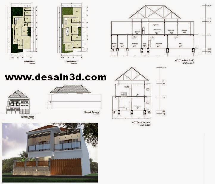 Desain Struktur Rumah Tinggal 2 Lantai