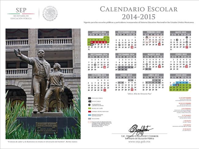 Calendario escolar 2014-2015 SEP