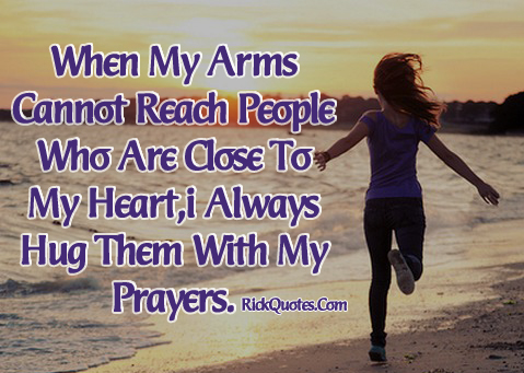 Life Quotes | Hug Them With My Prayers Girl alone Walk On Beach Sea
