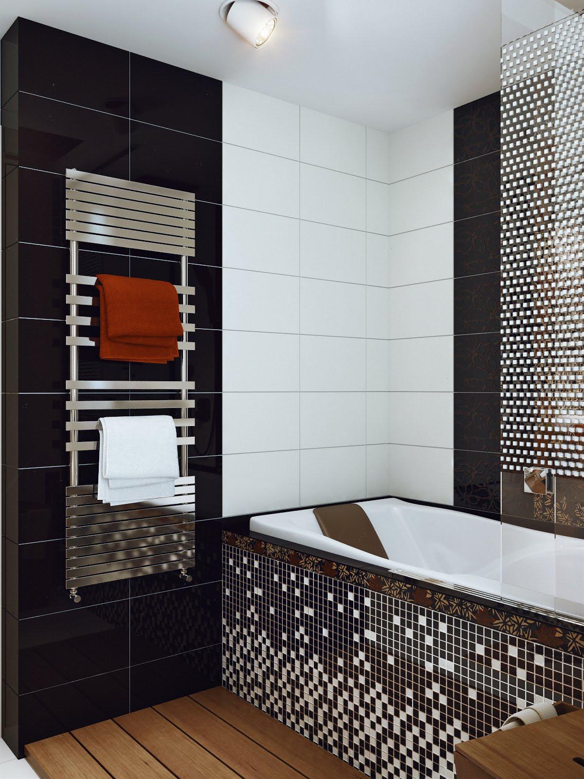Дизайн в черно-белой плитки