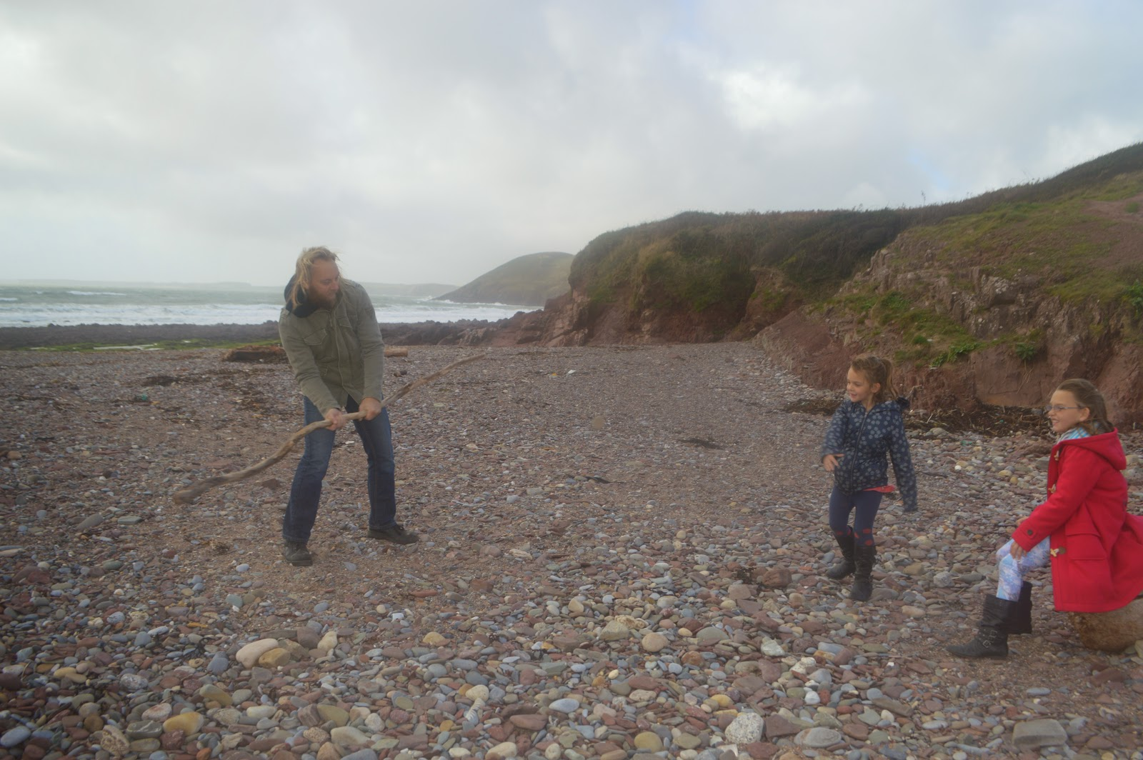 Dave Pebble and  Stick  Rounders Manorbier Beach Pembrokeshire Wales