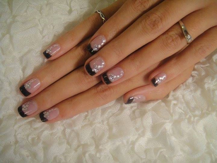 Acrylic french black nail art and feats