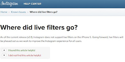 Instagram iphone 5 don't support live filters?