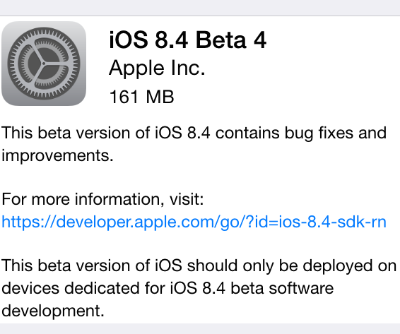 Apple iOS 8.4 Beta 4 OTA