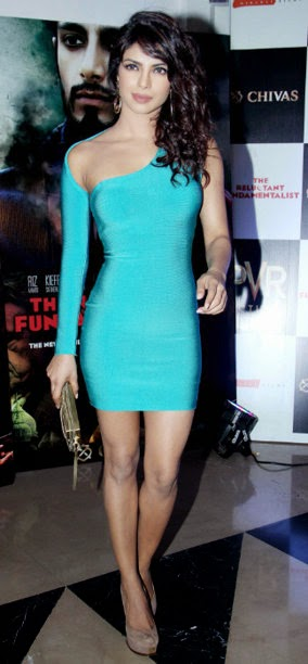 Priyanka Chopra in Tight Sky-Blue Mini Dress