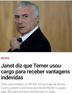 Procurador-geral da República,oferece denúncia criminal contra o presidenteMichel Temer