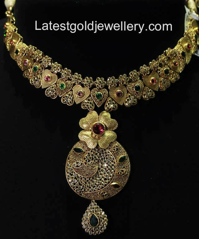 hyderabad uncut necklace green red diamond az set from antique large jewels golden