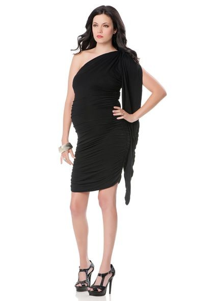 black Chiffon One-Shoulder Empire Sheath Short Maternity Bridesmaid Dress
