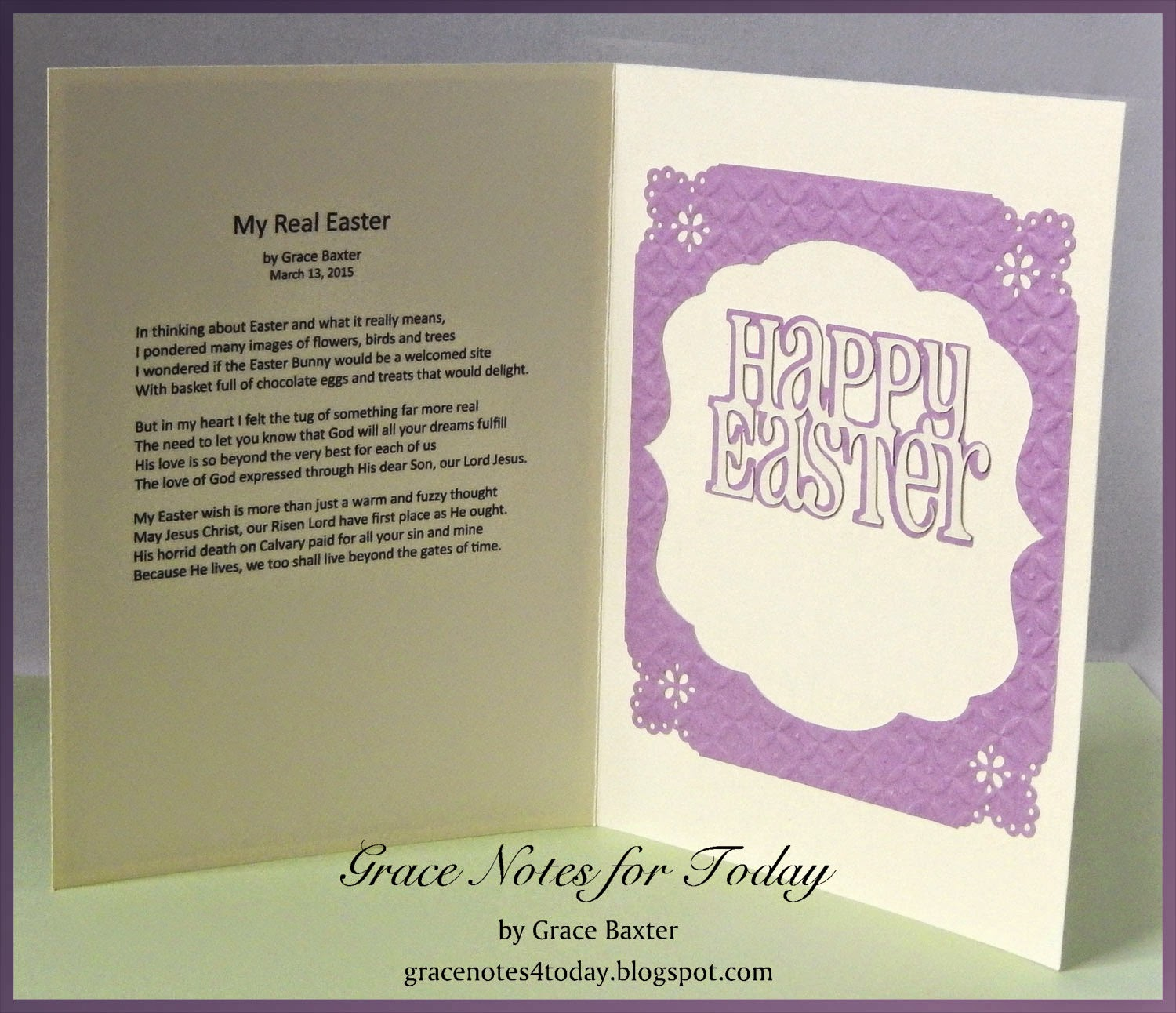 My Real Easter, card poem by Grace Baxter