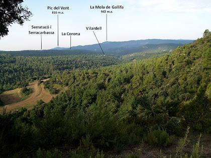 Panoràmica vers el sud-oest des del Coll de les Escaletes