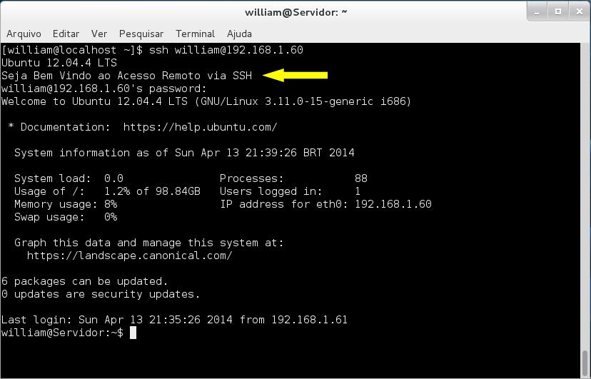 Testando conexão SSH no terminal do Fedora