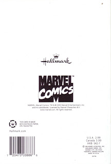Back of retro Marvel Comics birthday card from 2010