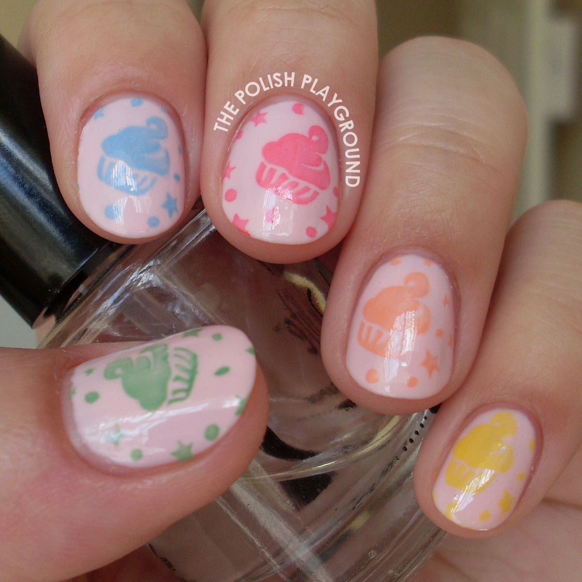 Coloful Cupcake Stamping Nail Art