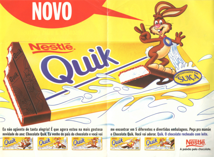 Campanha do Chocolate Quik em 1996: chocolate com recheio de leite.