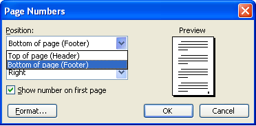 how to omit header on first page open office