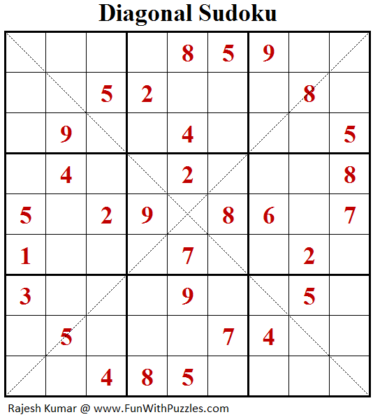 Diagonal Sudoku (Fun With Sudoku #115)