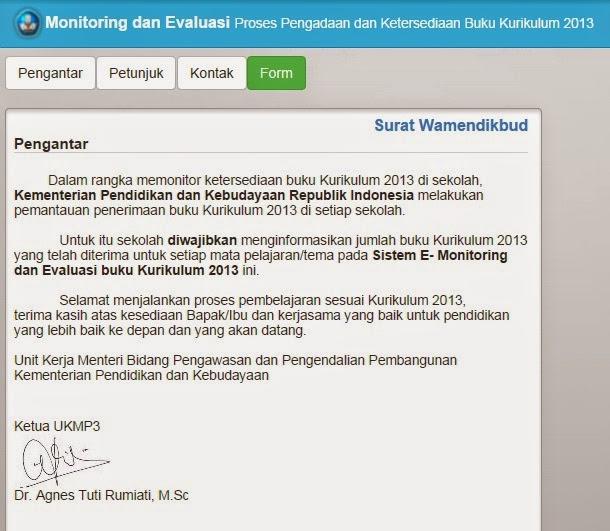 PETUNJUK PENGGUNAAN APLIKASI MONITORING DAN EVALUASI PROSES PENGADAAN DAN KETERSEDIAN BUKU KURIKULUM 2013
