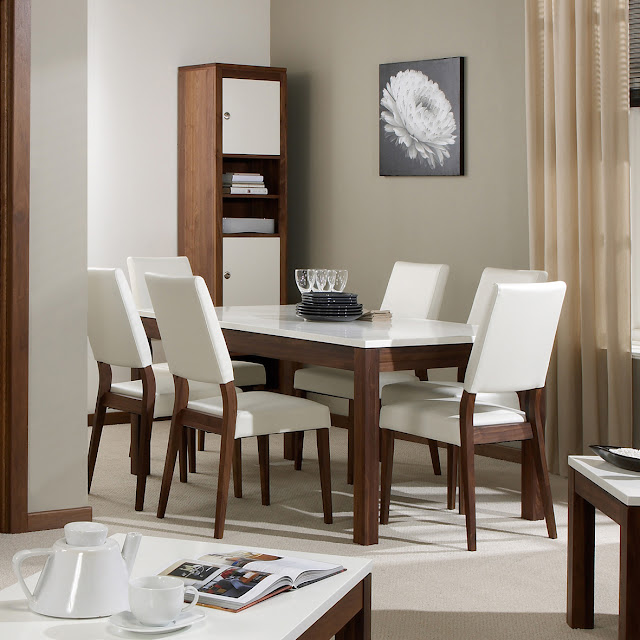 Marlo Solid Walnut and High Gloss Rectangular Extending Dining Set