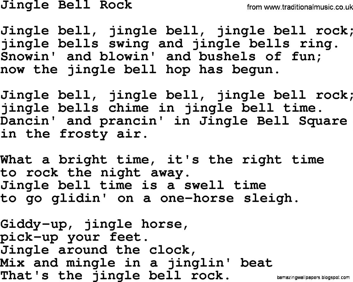 Catholic Hymns Song Jingle Bell Rock   lyrics and PDF