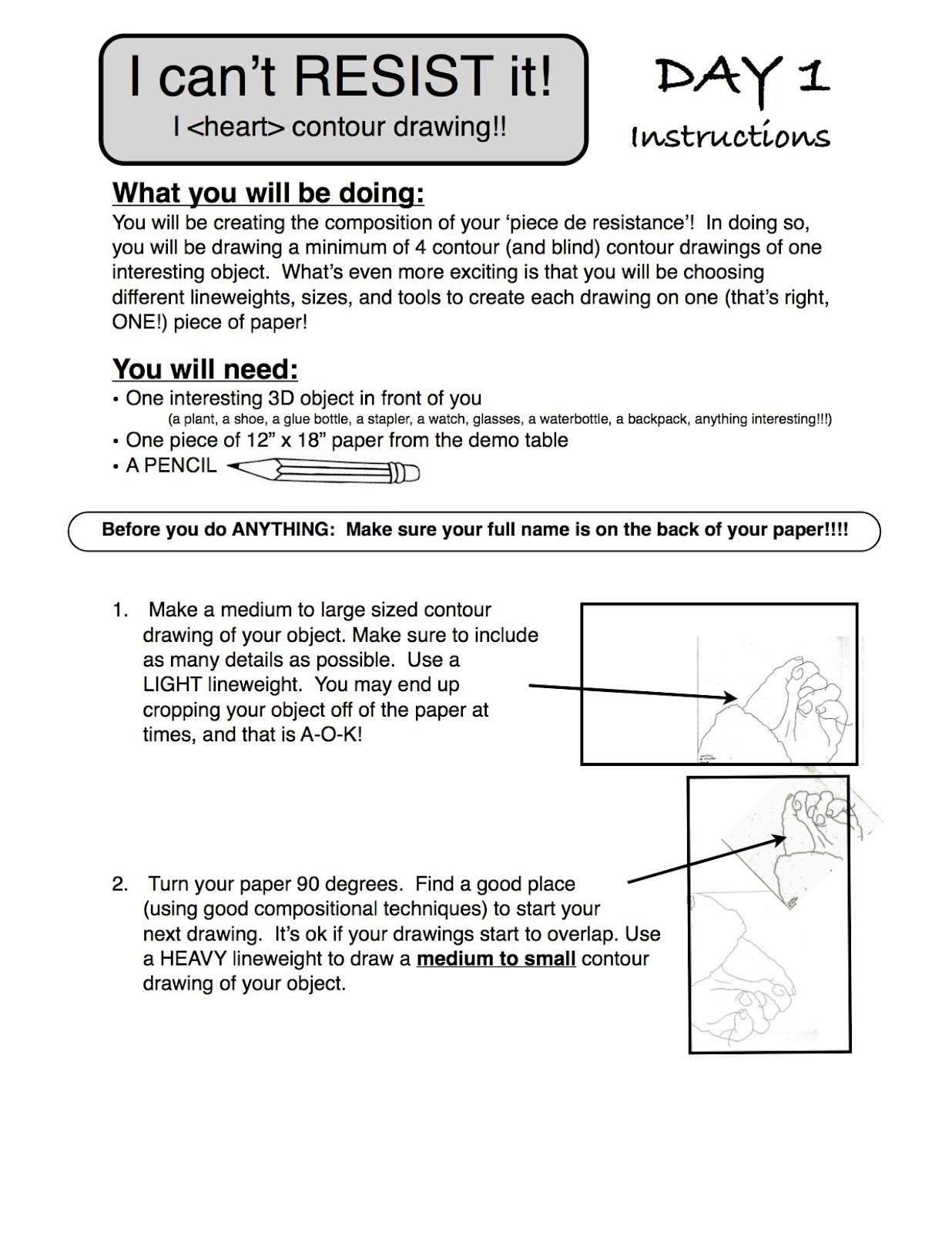 Contour Line Drawing Lesson Plan : Project art a day lesson i can t resist it contour line