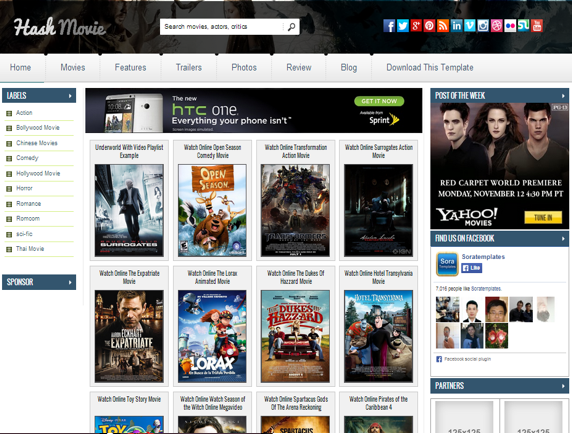 Hash Movie Blogger Template | Design Cart