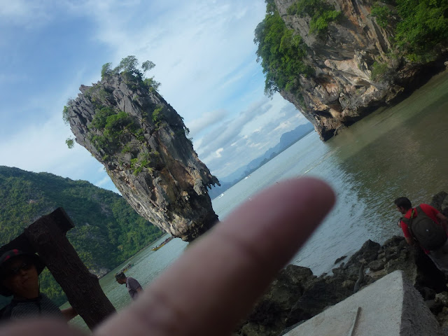 James Bond Island at the tip of my finger in Phuket