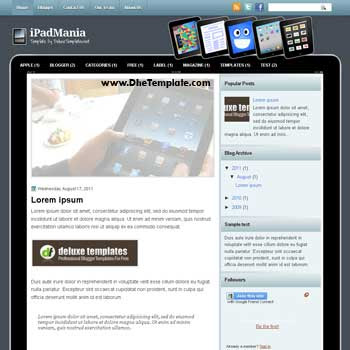 iPadMania blogger template. blogger template with ipad design. template blogspot magazine style