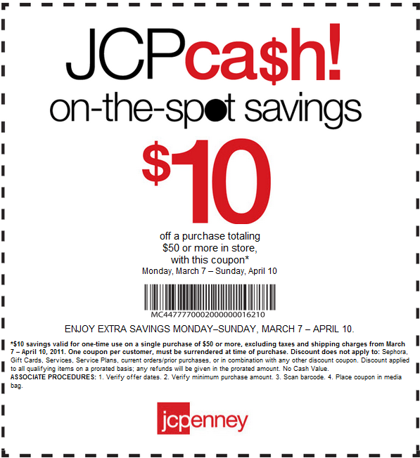 Coupon policy: JCPenney allows you to combine rewards points, free shipping discounts and promotional codes, but only one promo code can be applied to an order at a time. Return policy: If you need to return items to a JCPenney store, you have up to 60 days after the date of purchase.