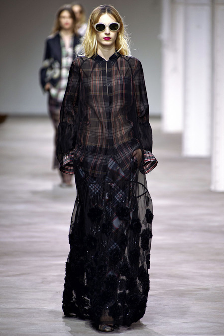 Sheer layers and mixed plaids on the runway