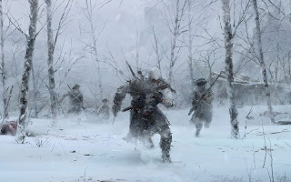 Assassin's Creed 3D Connor Running Away Snowy Forest HD Wallpaper