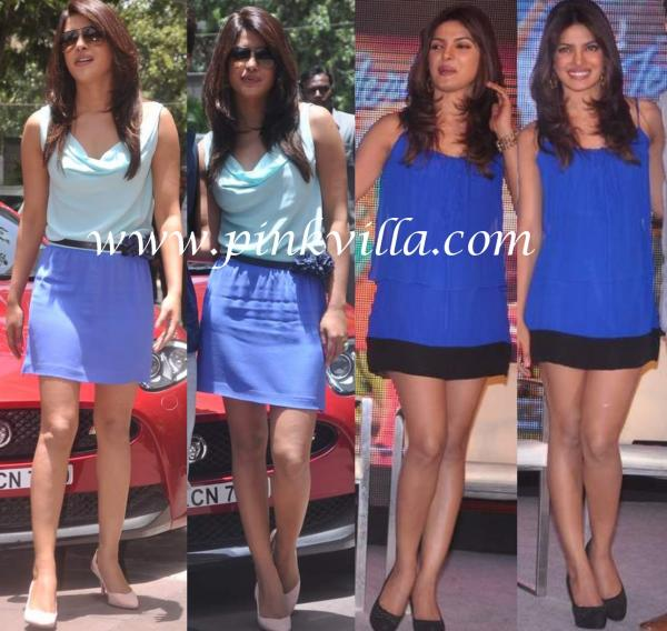 Priyanka chopra in blue and black  -  Kareena vs Priyanka - short dresses HOT HOT PICS