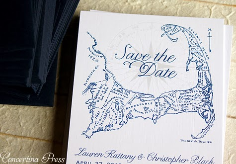Navy Cape Cod Save the Dates by Concertina Press