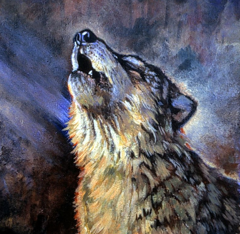 Painting of a Howling Wolf