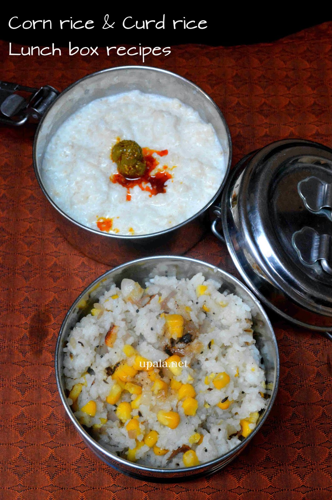 corn rice curd rice lunch box